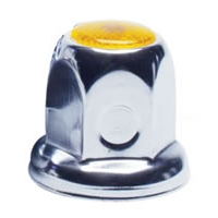 33mm Flanged Chrome Plated Lug Nut Cover - Amber Color Reflector, Bulk