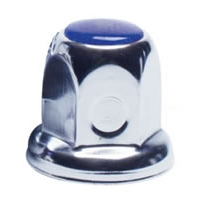 33mm Flanged Chrome Plated Lug Nut Cover - Blue Color Reflector, Bulk