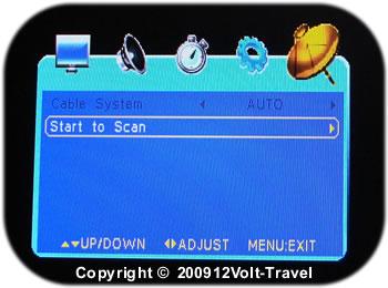Digital TV menu : Begin Channel Scan